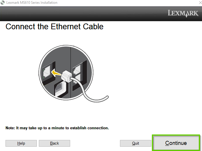 Lexmark printer install software showing to connect the ethernet cable