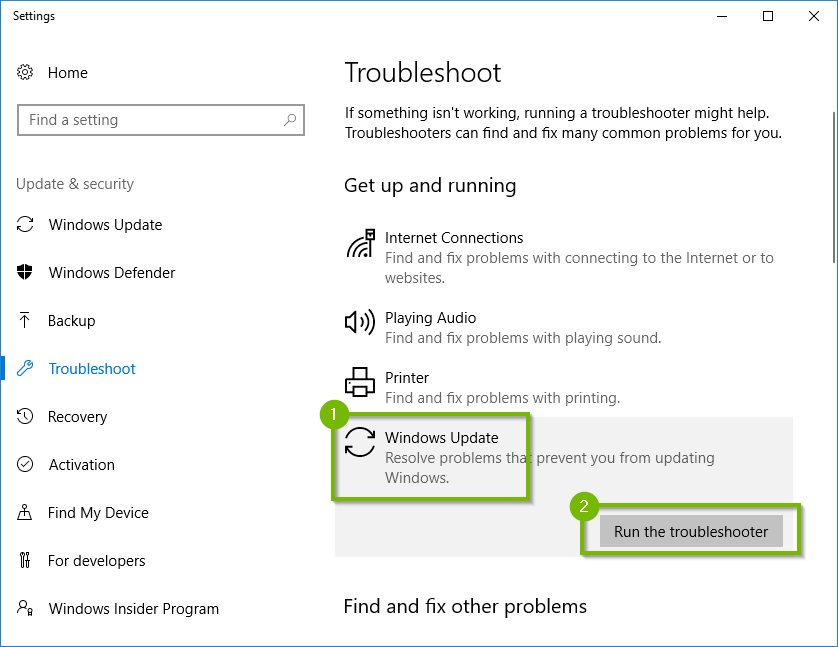 settings app with Windows Update highlighted and Run the troubleshooter is highlighted