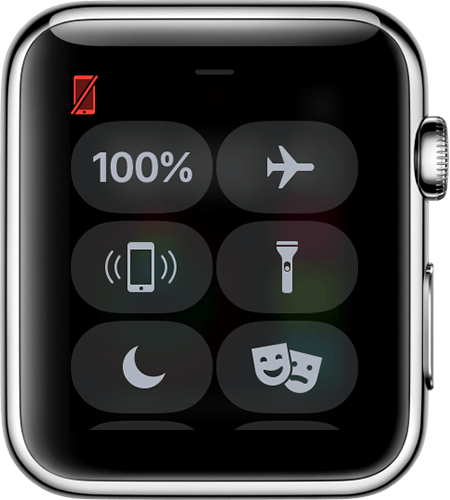 Apple watch face showing iphone icon as red
