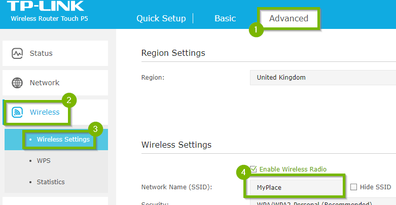 Wireless settings screen with 1. Advanced 2. Wireless 3. Wireless settings and 4. Network name highlighted
