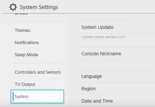 Nintendo switch system settings menu with system highlighted