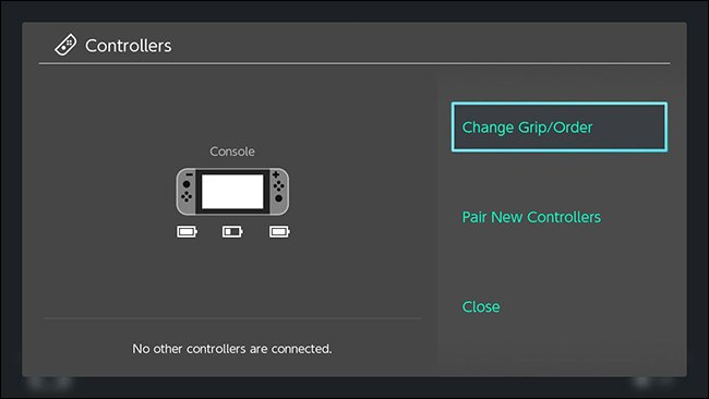 Nintendo switch controllers screen with change grip/order highlighted