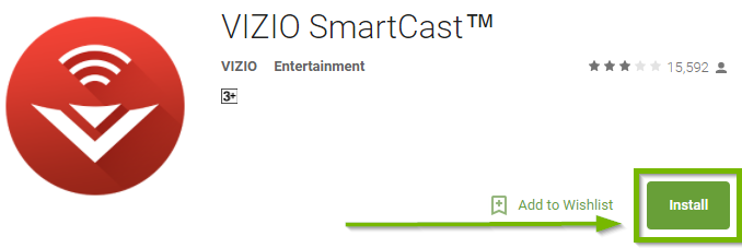 Vizio smartcast app page with install highlighted