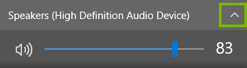 Windows 10 speakers volume settings showing arrow