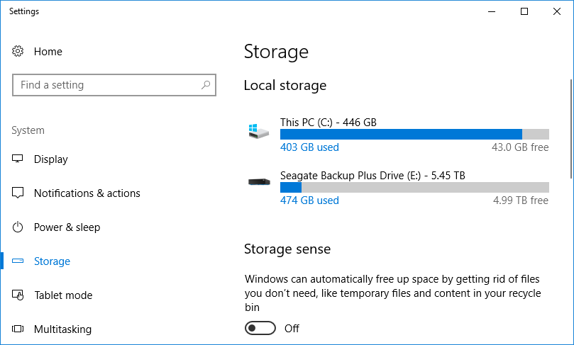 Screenshot of storage detailing drive space free