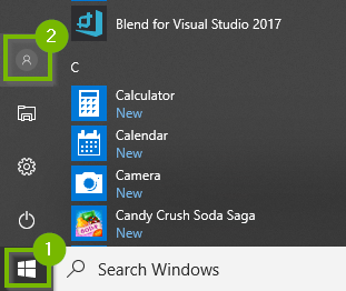 Start menu with User icon highlighted