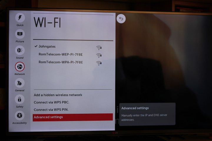 LG TV settings menu with networks listed