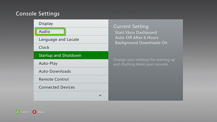 Xbox 360 console settings menu with audio selected