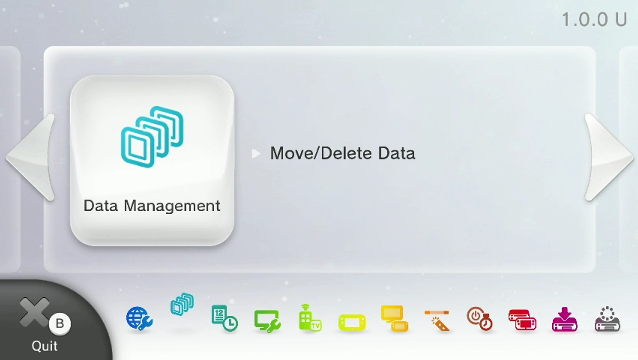 Wii u settings menu with data management selected
