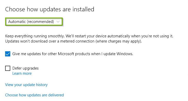 Windows update advanced options screen highlighting the automatic dropdown box setting.