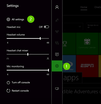 Xbox one menu showing All settings and the settings cog.