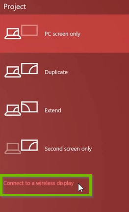 Windows 10 project menu highlighting connect to a wireless display option.