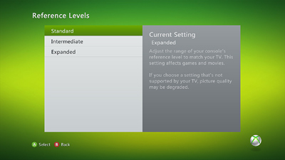 Xbox 360 reference levels showing stanard, intermediate, and expanded