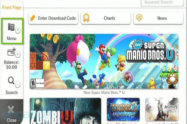 Wii u nintendo e shop with my menu selected