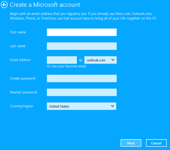 Windows 10 create a Microsoft account screen.