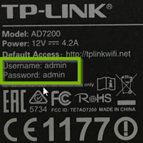Example of TP-Link label with default username and password highlighted