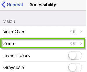 iPhone accessibility menu with zoom highlighted