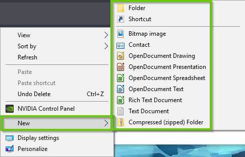 Windows 10 right click menu showing new highlighted