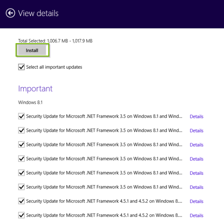 Windows 8/1 Windows update details showing install highlighted