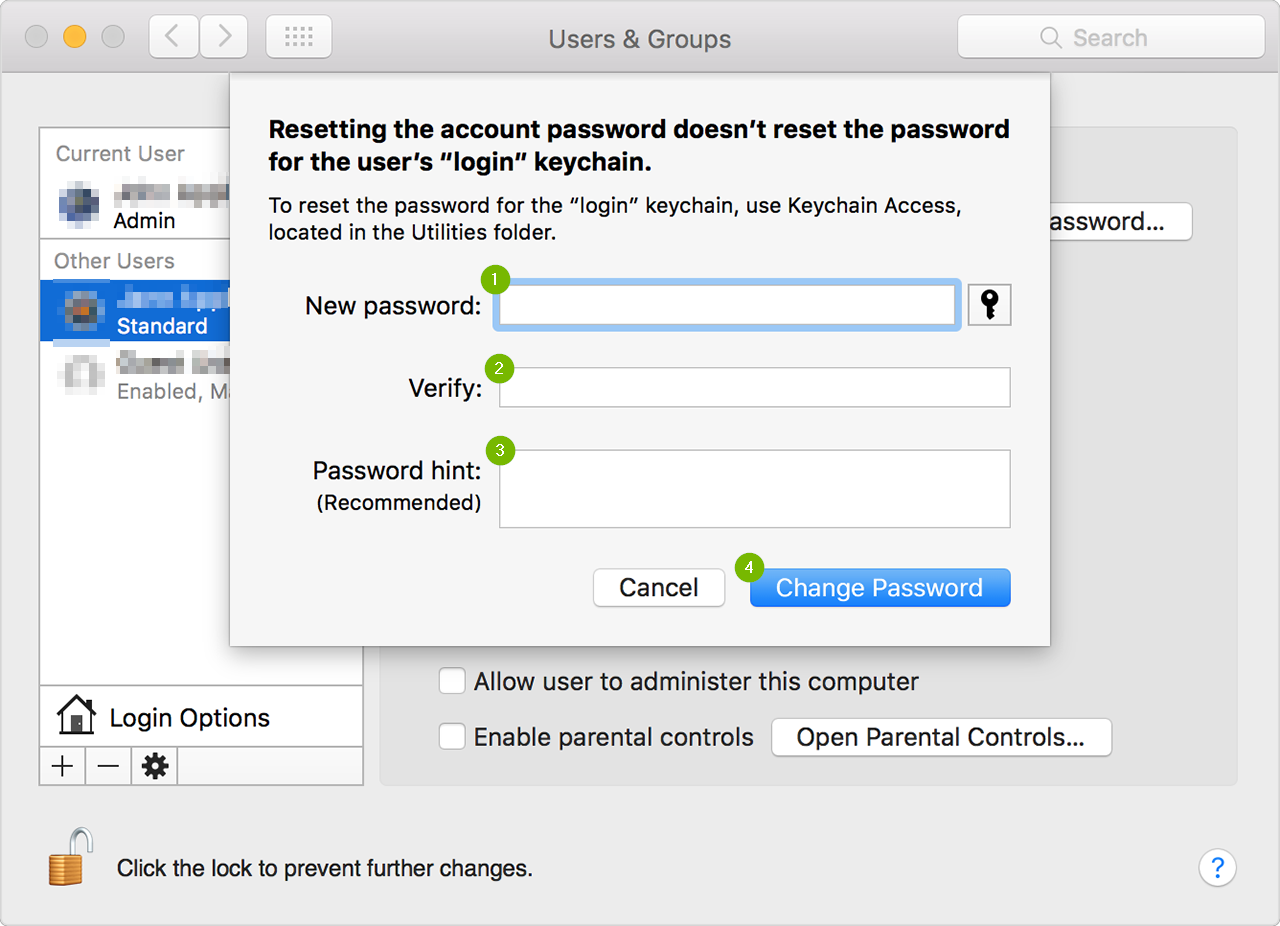 Screenshot of the change password screen. The fields are as follows: new password, verify, and password hint. There is a change password button in the lower right hand side.