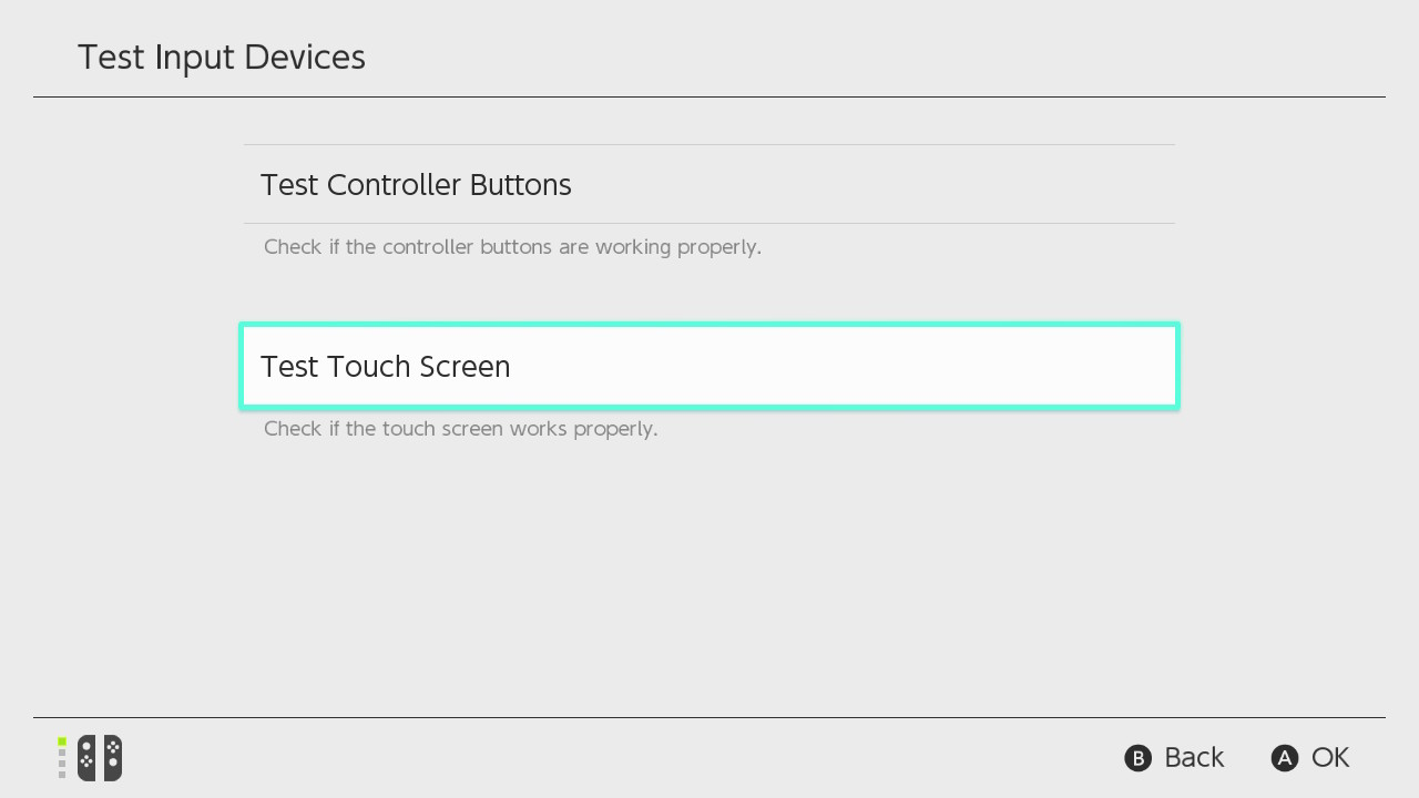 Nintendo switch test input devices menu showing Test Touch Screen highlighted