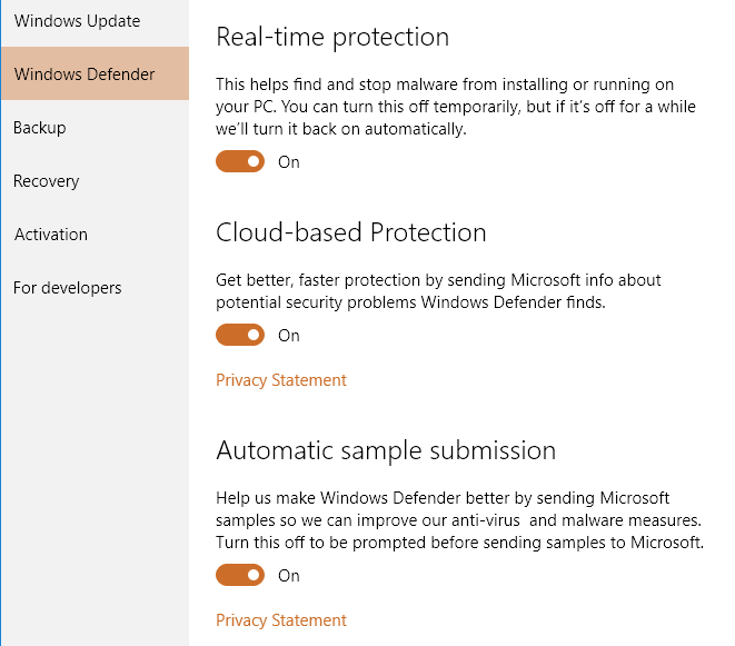 Windows 10 control panel window with Windows Defender tab selected