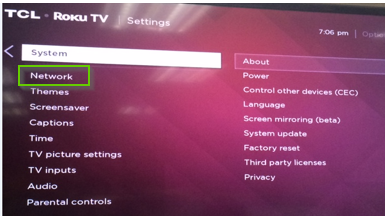 TCL tv settings with network selected