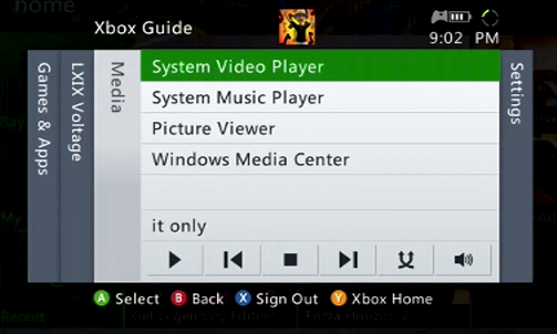 Xbox 360 media settings with system music player selected