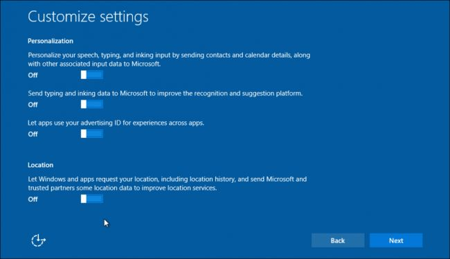Windows 10 customize settings screen