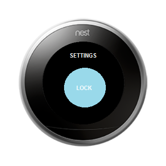 Thermostat with lock screen highlighted