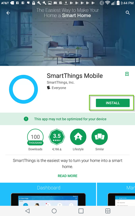 Google play store smartthings mobile app page showing install highlighted