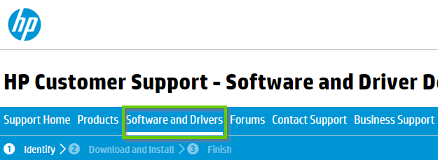 Website for hp support showing software and driver highlighted