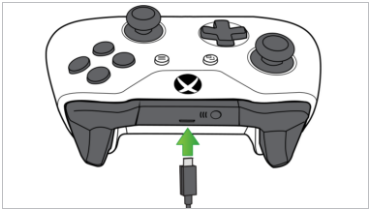 USB cable connected to Xbox controller. Illustration.
