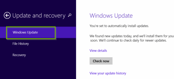 Windows Update highlighted in PC Settings.