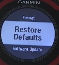 Garmin forerunner restore to defaults