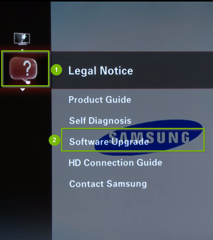 TV Support menu with Software Upgrade selected. Screenshot.