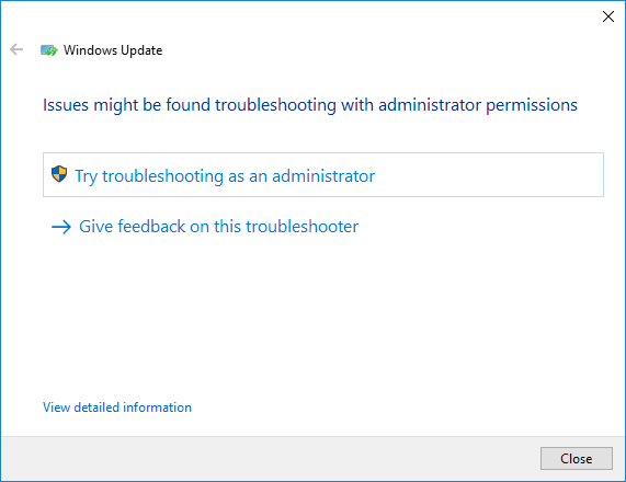 Windows update troubleshooter with try troubleshooting as administrator selected