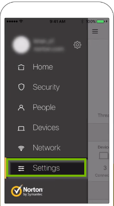 Norton core app menu with settings highlighted