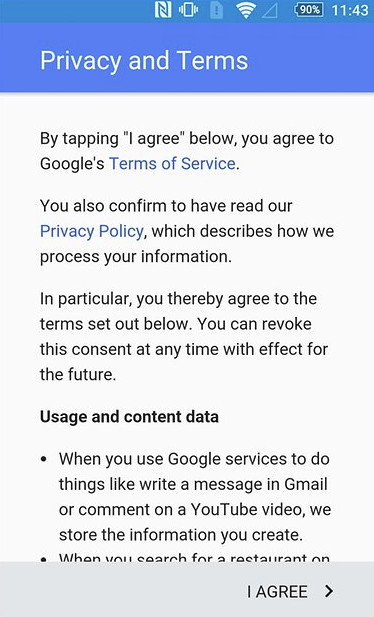 Google account EULA