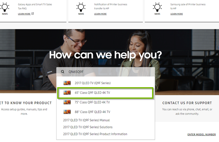 Searching for your TV in the search bar. Screenshot.