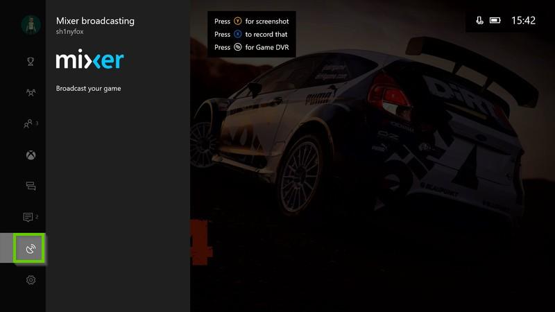 Xbox menu with broadcast icon