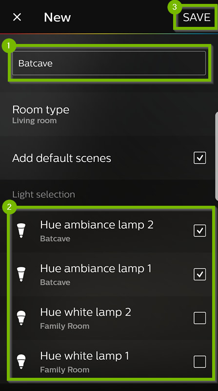 Philips Hue app with new room setup options.