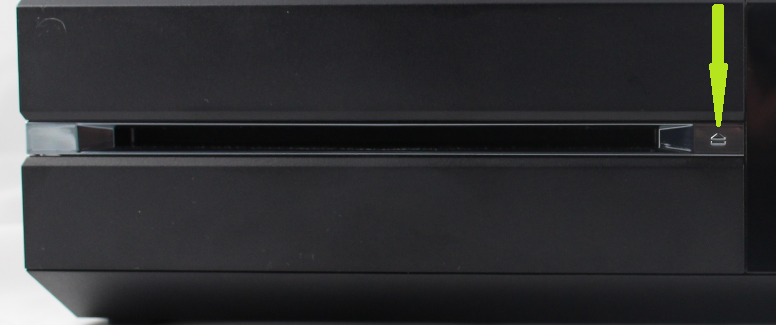 Front of Xbox one with Eject button highlighted