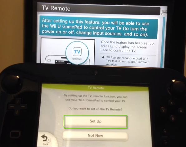 Wii u tv remote setup screen