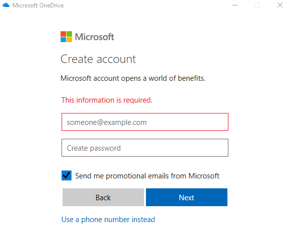 Surface pro one drive account creation