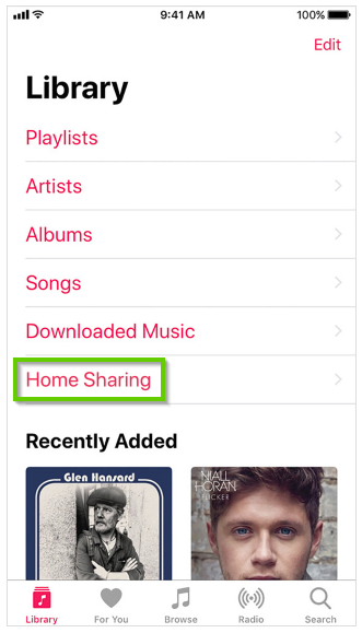 iOS music library menu with home sharing highlighted