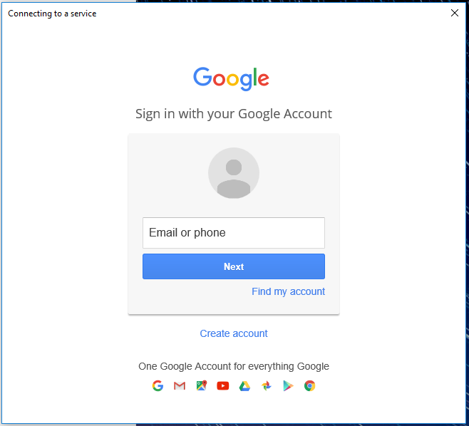 Windows Mail asking for google account details.