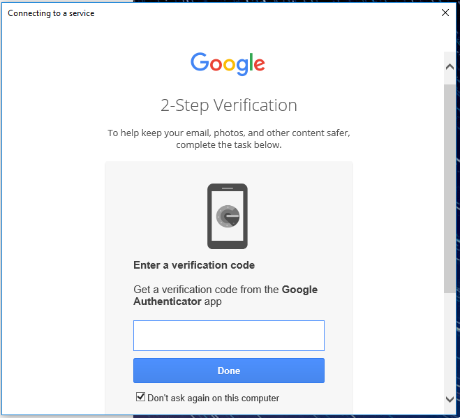 Google 2-step verification page.