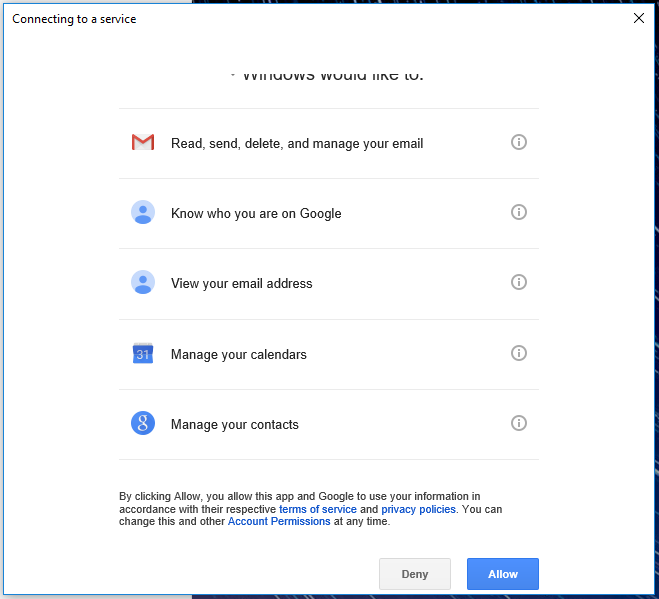 Windows mail asking for permission to use your gmail.