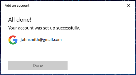 Windows Mail successfully setup gmail page.